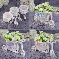 beauty gift baskets - Beauty Rattan Tricycle Bike Flower Basket Vase Storage Garden Wedding Party Decoration Office Bedroom Holding Candy Gift hot