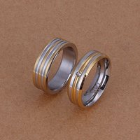 Wholesale romantic Wedding jewelry the gold stripe steel ring Contracted lover buddhist monastic discipline silver suit for Wedding ball