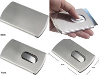 Wholesale 1pcs Customized Engraved Stainless Steel Hand Push Business Name Card Holder Case Box Free Shipment