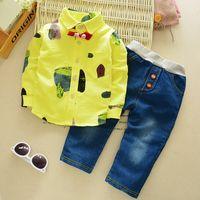 abstract clothing brand - Autumn children s clothing boys suit children fashion abstract print cotton shirt piece quality assurance