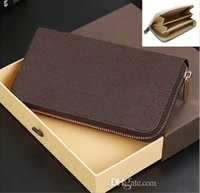 Wholesale 1 High quality leather wallet short wallet Genuine leather Wallet Mens Wallets Black Brown card wallet With Original box