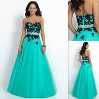 beading websites - Princess Mint Green Evening Dresses Tulle A line Appliques Black Lace Prom Party Gowns Websites Sweetheart Dress For