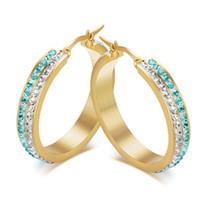 allergy titanium - Titanium Steel White and Blue Cubic Zironia Shiny Gold Earrings Fashion Joyas Earring For Women Bijoux Avoid Allergy Jewelry