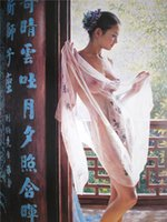 Wholesale Traditional Chinese Sexy Temptation Art Photo Canvas Printing Unframed Classical Nude Eastern Women Home Living Room Decor