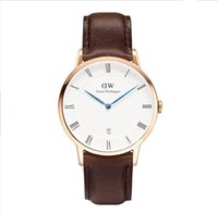american needle - DW leather watches men s and women s blue needle belt waterproof quartz watch students couples ultra slim wrist European and American sty