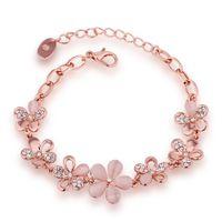 beautiful czech women - Rose Gold Jewelry Beautiful Flower Czech Drilling Lady Bracelet Crystal Gemstone Jewelry Fashion for Girl Women Cute Gifts for New Year