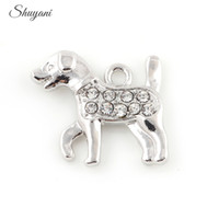 Charms fashion charms Animals Dog Crystal Charms Pendant Jewelry Making DIY Floating Locket Charms for Bracelet Silver Gold Plated 20pcs Free Shipping