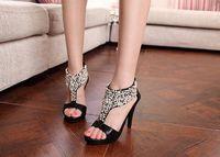 beaded zipper sandal - New Summer open toe rhinestone sandals zipper pearl beaded high heel sandals women shoes high heel sandals banquet shoes dancing shoes