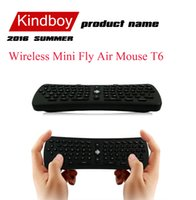 Wholesale 2 GHz Wireless Mini Fly Air Mouse T6 Gyroscope Qwerty Keyboard Remote Control for Android TV Box Mini PC M8 MXQ CS918 MXIII