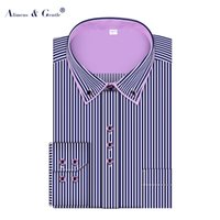 Wholesale Men s Striped Shirt Business Dress Europe Size Long Sleeve Regular Fit High Cotton Double Collar Camisa Social Masculina Chemise Homme
