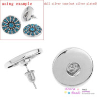 Wholesale Nice Click Button Earring Post Round Silver Tone W Stoppers Fit Snaps Nice Buttons x17cm Pairs K01163