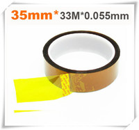 Cheap Wholesale-2PCS 35mm x 33m High Temperature Resistant Tape Heat Dedicated Tape Polyimide Tape for BGA PCB SMT 3D Printer Up to 250 Celsius
