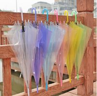 Wholesale OEM Transparent Umbrellas Clear See Through Colorful Long Handle Umbrellas for Rainproof Wedding Photo Props etc DHL