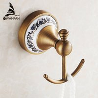 Wholesale Hot selling Bathroom Accessories European Antique Bronze ceramic Robe Hook Clothes Hook Coat Hook Bathroom Products HJ F