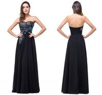 Cheap 2016 Real Image Peacock Strapless Long Evening dresses robe de soiree embroidery cheap chiffon Party dress prom gowns abendkleider BZP0792