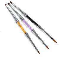 acrylic nail brush sable - 3pcs Double ended Nail Art UV Gel Brush Set Nail Art Painting Pen Crystal Pen Sable Brush Head Luxury Rhinestone Acrylic pen W2729