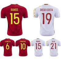 Wholesale Euro Cup Spain Soccer Jersey AAA Thai Quality Mens Soccer Shirts A INIESTA MORATA SERGIO RAMOS Customize Soccer Jerseys