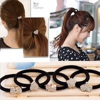 apple alloy hair - new Korean women bow diamond Apple leisure rubber band hair ring headdress hair accessories