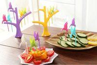 bamboo party fork - Party Home Decor Bird Fruit Snack Dessert Forks Tool Tree Shape Holder Rack New