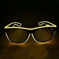 Wholesale el glasses El Wire Fashion Neon LED Light Up Glow Rave Costume Party DJ Bright Glasses