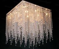 Wholesale new modern square crystal chandelier light lustre de cristal lamparas living room chandelier LED lamp L600 W600 H800mm