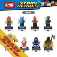 beast boy toys - 250pcs Mix Order Super Heroes Minifig Marvel DC Killer Croc Red Hood Starfire Beast Boy Raven X0126 Mini Building Blocks Figures Toy