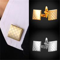 al por mayor botón de la camisa de metal-Cuadrados de alta calidad Cufflinks Platinum / 18K oro real plateado botones de metal Botones de malla de camisa de juego para los hombres