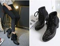 bottes Women'shoes mode talon Chunky cheville Ladys chaussures en cuir chaussures avec une amende de mariage chaussures Party Dress Siize 35 à 40 7.5cm