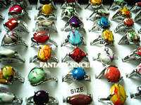 Wholesale bulk mixed styles natural rainbow stone women s metal alloy Ethnic fashion jewelry rings
