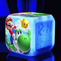 Wholesale Super mario bros toys hobbies Digital Clocks touch light action toy figures poke go supermario Night Colorful light toys