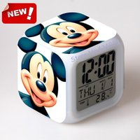 antique desk accessories - Mickey Mouse and Donald Duck Alarm Clock Led Light Color Change Lcd Display Desk Accessories Relogio De Mesa Projection Clock Bedside Led