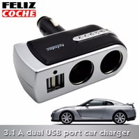 Wholesale FELIZCOCHE Car Charger Supply Double Sockets Electronic Cigarette Lighter Extender Splitter Adapter Car USB Socket A1113