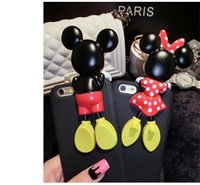 Wholesale For iphone S plus Lovely Mickey Minnie Mouse Dots Case D Bowknot Cartoon Mobile Phone Back Shell Cover
