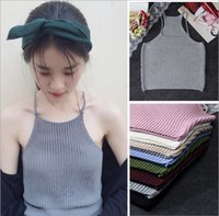 Wholesale High Quality Candy Color Women Cotton Tanks Camis Blouse Lady Loose Strap Vests Tee Sleeveless Tops Cotton Camisole Top Tees