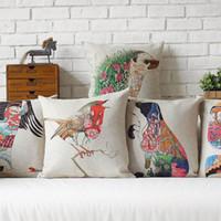 Wholesale 45cm Green hedgehog Bird Dog Pattern Cotton Linen Fabric Waist Pillow inch Hot Sale New Home Decorative Sofa Car Back Cushion