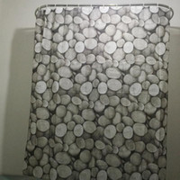 Wholesale 2016 New Fashion Pebbles Pattern Family Bathroom Shower Curtain Simple Polyester Ring Pull