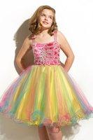 Wholesale Beautiful paillette rainbow mesh hem performing princess dress fairy girl sequins glitter colorful hem tutu costumes dancewear