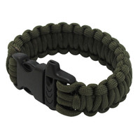 Wholesale Multifunctional Military Paracord Bracelet Outdoor Survival Kit Parachute Cord Buckle with Whistle for Hiking Camping Emergency