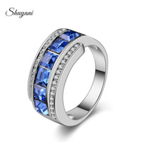 Wholesale SHUYANI Party Engagement Wedding Rings Jewelry Fashion Women Men Sapphire Jewelry For Women Crystal Rings