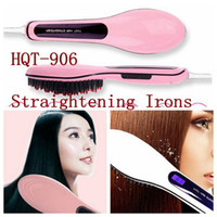 Wholesale HQT Hair Straightener Flat Iron Hair irons fast Straightening Brush Hair Styling comb Beautiful Star pink white US EU UK AU plug