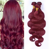 al por mayor pelo rojo paquetes de 22 pulgadas-Extensión del pelo de la onda del cuerpo humano # 99J tejidos de pelo 10-30 pulgadas Pour color rojo de vino de Borgoña onda del cuerpo haces de pelo 3 PC / porción