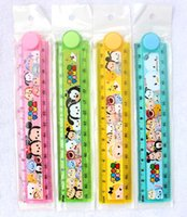 folding ruler - 40Pcs cm Cute Kawaii Plastic Folding Cartoon Tsum Mickey Minnie Folding Ruler Drafting Tools Stationery Office Supplies
