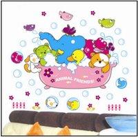 bathtub decals - Blue Pink Animal Elephant Dog Duck Hippo Bathtub Bath Wall Sticker Decal Vinyl Kids Room