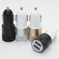 Wholesale version EU US Metal Dual USB Port Car Charger Universal Volt Amp for cellphone ipad CA055