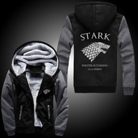 Wholesale Fall Differ Game Of Thrones House Of Stark Graphic Super Warm Thicken Fleece Zip Up Hoodie Men s Coat Black