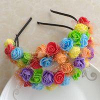 attraction fabric flowers - 3PCS SET Travel Wedding Employee Benefits Multicolor Seaside Headdress Head Flower Hand Bride Bridesmaid Attractions Cute FlowerHeadband