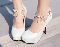 Wholesale New Arrival Fashion Princess Nightclub Sweety Super Waterproof Diamond Beads Belt Buckle Noble Party Wedding Heel Shoes EU33