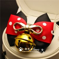 Wholesale 2016 new fashion red bell handmade jewelry bow tie hand square pet dog cat jewelry tone retro Royal lace collar