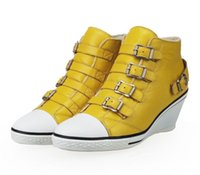 ash wedge boots - Women s Ash Genial Buckle Small Wedge Winter Warm Sneakers Yellow Leather ASH Ankle Boots Sheepskin Fashion Tide ASH High top Trainers
