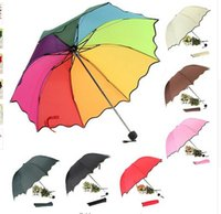 Wholesale Top Quality Rib Color Rainbow Fashion Long Handle Straight Anti UV Sun Rain Stick Umbrella Manual Big Paraso